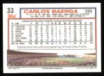 1992 Topps #33   Carlos Baerga Back Thumbnail