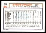1992 Topps #86   Steve Finley Back Thumbnail