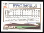 1992 Topps #183   Brent Mayne Back Thumbnail