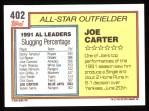 1992 Topps #402  All-Star  -  Joe Carter Back Thumbnail