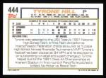 1992 Topps #444  Tyrone Hill  Back Thumbnail