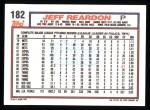 1992 Topps #182   Jeff Reardon Back Thumbnail