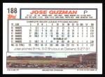 1992 Topps #188  Jose Guzman  Back Thumbnail