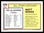 1992 Topps #404  All-Star  -  Matt Nokes Back Thumbnail