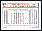 1992 Topps #385  Tim Wallach  Back Thumbnail