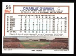 1992 Topps #56   Charlie O'Brien Back Thumbnail