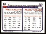 1993 Topps #476  Mark Voisard  Back Thumbnail