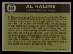 1961 Topps #580  All-Star  -  Al Kaline Back Thumbnail