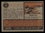 1962 Topps #492  Hal W. Smith  Back Thumbnail
