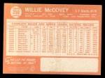1964 Topps #350   Willie McCovey Back Thumbnail