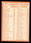 1964 Topps #6  AL Strikeout Leaders  -  Camilo Pascual / Jim Bunning / Dick Stigman Back Thumbnail