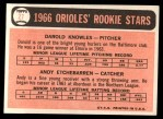 1966 Topps #27  Orioles Rookies  -  Andy Etchebarren / Darold Knowles Back Thumbnail