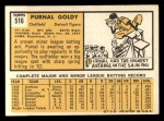1963 Topps #516  Prunal Goldy  Back Thumbnail