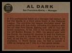 1962 Topps #322  Al Dark  Back Thumbnail