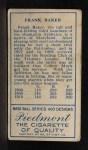 1911 T205 #7  Home Run Baker  Back Thumbnail
