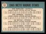 1965 Topps #533  Mets Rookies  -  Tug McGraw / Ron Swoboda / Jim Bethke / Dan Napoleon Back Thumbnail