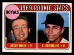 1969 Topps #49 COR  -  Steve Jones / Ellie Rodriguez Royals Rookies Front Thumbnail