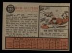 1962 Topps #180 A  Bob Bobby Allison Back Thumbnail