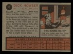 1962 Topps #13  Dick Howser  Back Thumbnail