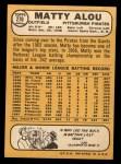 1968 Topps #270  Matty Alou  Back Thumbnail