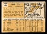 1963 Topps #489  Paul Toth  Back Thumbnail