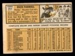 1963 Topps #277   Dick Farrell Back Thumbnail