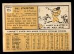 1963 Topps #155  Bill Stafford  Back Thumbnail