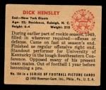 1950 Bowman #104   Dick Hensley Back Thumbnail