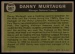 1961 Topps #567   -  Danny Murtaugh All-Star Back Thumbnail