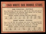1969 Topps #173  White Sox Rookies    -  Bob Christian / Gerry Nyman Back Thumbnail