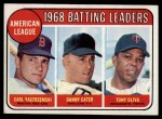 1969 Topps #1  AL Batting Leaders  -  Carl Yastrzemski / Danny Cater / Tony Oliva Front Thumbnail
