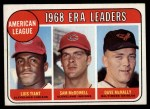 1969 Topps #7  AL ERA Leaders  -  Luis Tiant / Sam McDowell / Dave McNally Front Thumbnail
