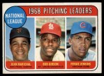 1969 Topps #10   -  Juan Marichal / Bob Gibson / Fergie Jenkins NL Pitching Leaders Front Thumbnail