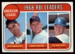 1969 Topps #3  AL RBI Leaders    -  Ken Harrelson / Frank Howard / Jim Northrup Front Thumbnail