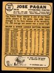 1968 Topps #482  Jose Pagan  Back Thumbnail