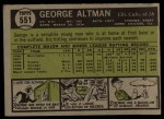 1961 Topps #551   George Altman Back Thumbnail