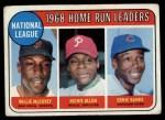 1969 Topps #6  NL HR Leaders  -  Willie McCovey / Rich Allen / Ernie Banks Front Thumbnail