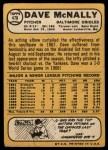1968 Topps #478   Dave McNally Back Thumbnail