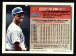 1994 Topps #260   Julio Franco Back Thumbnail