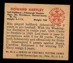 1950 Bowman #88   Howard Hartley Back Thumbnail