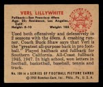 1950 Bowman #108  Verl Lillywhite  Back Thumbnail