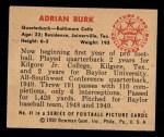 1950 Bowman #41   Adrian Burk Back Thumbnail