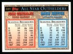 1994 Topps #389  All-Star  -  Juan Gonzalez  /  David Justice Back Thumbnail