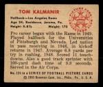 1950 Bowman #125  Tom Kalmanir  Back Thumbnail