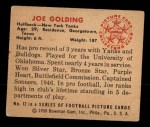 1950 Bowman #12   Joe Golding Back Thumbnail