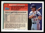 1994 Topps #230  Larry Walker  Back Thumbnail