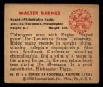 1950 Bowman #61   Walter Barnes Back Thumbnail