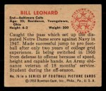 1950 Bowman #76   Bill Leonard Back Thumbnail