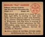 1950 Bowman #93  Marlin Harder  Back Thumbnail
