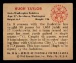1950 Bowman #30  Hugh Taylor  Back Thumbnail